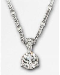 Swarovski - Metallic Round Solitaire Crystal Pendant Necklace - Lyst