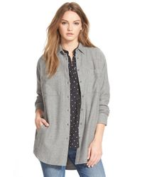 Madewell - Gray 'sunday' Flannel Shirt - Lyst