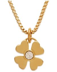kate spade new york | Metallic Gold-tone Crystal Four-leaf Clover Pendant Necklace | Lyst