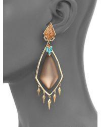 Alexis Bittar | Metallic Phoenix Deco Lucite, Jasper, Turquoise Howlite & Crystal Spike Clip-on Chandelier Earrings | Lyst