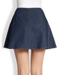 See By Chloé - Blue Denim A-Line Mini Skirt - Lyst