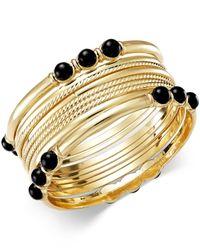 INC International Concepts | Black Gold-tone Jet Stone Bangle Bracelet Set | Lyst