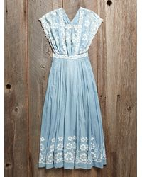 Free People - Vintage Blue Embroidered Dress - Lyst