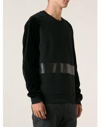 Les Hommes - Black Leather Panel Sweatshirt for Men - Lyst