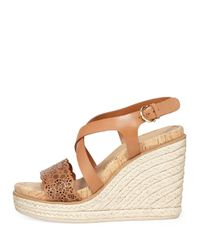 Ferragamo - Brown Gioela Leather Wedge Sandals - Lyst
