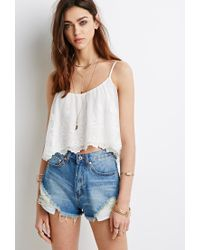 Forever 21 | Natural Embroidered Flounce Cami Top | Lyst