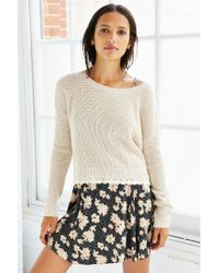 Kimchi Blue - Natural Lace Trim Cropped Sweater - Lyst