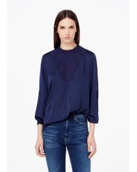 Mango | Blue Lace Panel Blouse | Lyst