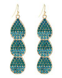 Fragments - Blue Ombre Pavé Crystal Leaf Earrings - Lyst