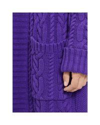 Ralph Lauren - Purple Cable-knit Cotton Cardigan - Lyst