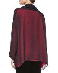Eskandar - Red Silk Chiffon Cowl-neck Top - Lyst