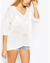 ASOS - Brown Top With V Neck In Texture - Lyst