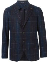 Tagliatore - Blue Checked Blazer for Men - Lyst