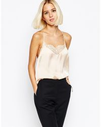 SELECTED - White Love Strappy Lace Back Cami - Lyst