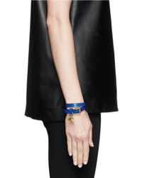 Alexander McQueen | Blue Double Wrap Skull Charm Leather Bracelet | Lyst