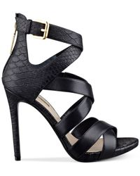 Guess | Black Women's Abby Strappy Dress Sandals | Lyst