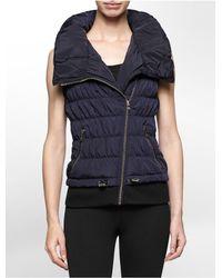 Calvin Klein - Blue White Label Performance High Collar Asymmetrical Zip Puffer Vest - Lyst