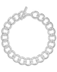 Lauren by Ralph Lauren | Metallic Silver-Tone Curb Chain Toggle Necklace | Lyst