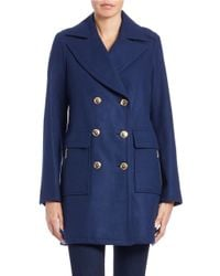 MICHAEL Michael Kors | Blue Double-breasted Pea Coat | Lyst
