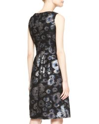 Lela Rose - Black Sleeveless Metallic Tweed Dress - Lyst