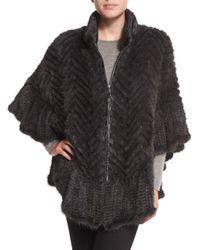 Belle Fare - Brown Chevron-Knit Mink-Fur Cape - Lyst