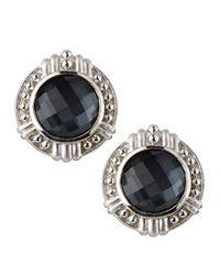 Judith Ripka - Black Vintage Hematite Doublet Button Earrings - Lyst