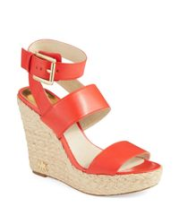 MICHAEL Michael Kors | Orange Poesy Ankle Strap Wedges | Lyst