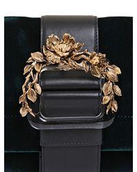 Roberto Cavalli - Green Heroine Blossom Velvet & Nappa Bag - Lyst