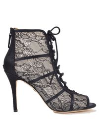 Badgley Mischka | Black Sherry Lace-Up Lace Boots | Lyst