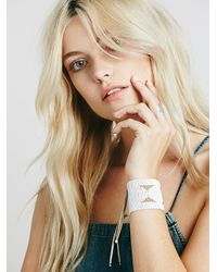Free People - White Warrior Bead Cuff - Lyst