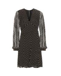 Polo Ralph Lauren | Black Perrin Polka-dot Silk Chiffon Dress | Lyst