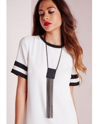 Missguided | Metallic Tassle Gunmetal Necklace | Lyst