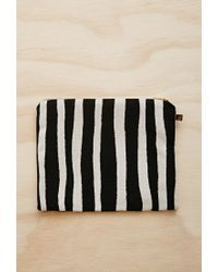 Forever 21 - Black Half United Striped Zipper Pouch - Lyst