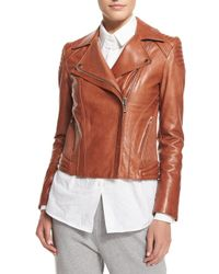 Belstaff - Brown Quilted-Panel Leather Moto Jacket - Lyst