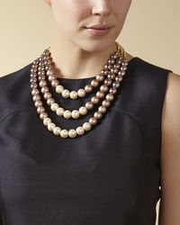 Jaeger - Brown Graduated Pearl Necklace - Lyst