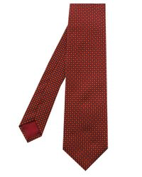 BOSS - Red Silk Micro Print Tie for Men - Lyst