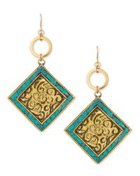 Devon Leigh | Green Turquoise/brass Medallion Drop Earrings | Lyst