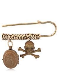 Maria Zureta | Metallic Skull & Crossbones Bronze Safety Pin | Lyst