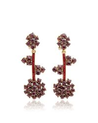 Oscar de la Renta - Metallic Crystal Flower Drop Earrings - Lyst