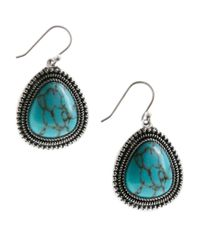 Lucky Brand - Blue Silver Tone Turquoise Drop Earrings - Lyst