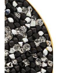 Shourouk - Black Luna Goldplated Swarovski Crystal Clip Earrings - Lyst