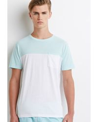 Forever 21 | Blue Colorblocked Pocket Tee for Men | Lyst