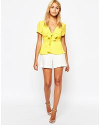 Love | Yellow Bow Front Top | Lyst
