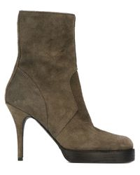 Rick Owens - Green Round Toe Boots - Lyst