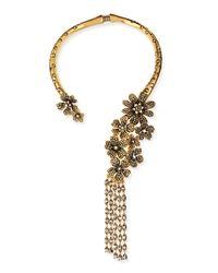 Oscar de la Renta - Multicolor Metallic Floral Collar Necklace - Lyst
