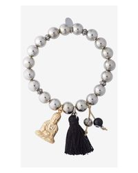 Express - Metallic Buddha Charm And Prayer Bead Stretch Bracelet - Lyst