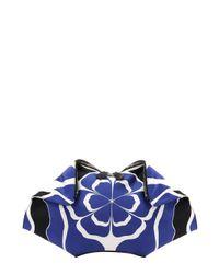 Alexander McQueen - Blue Leather Trimmed Floral Collage Print Silk 'de Manta' Clutch - Lyst
