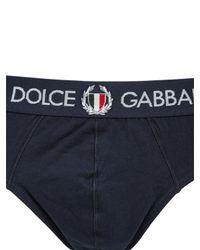 Dolce & Gabbana - Blue Italian Crest On Cotton Briefs for Men - Lyst