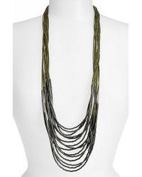 Tasha - Green Beaded Multi-cord Long Necklace - Olive/ Hematite - Lyst