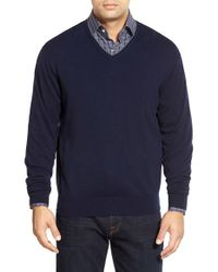 Peter Millar - Blue Tipped Cashmere Blend V-neck Sweater for Men - Lyst
